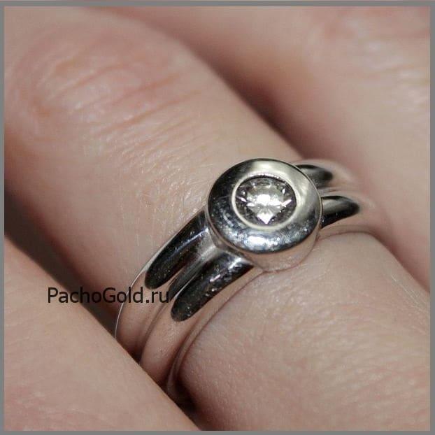 Кольцо из белого золота 750 Лунное затмение на заказ