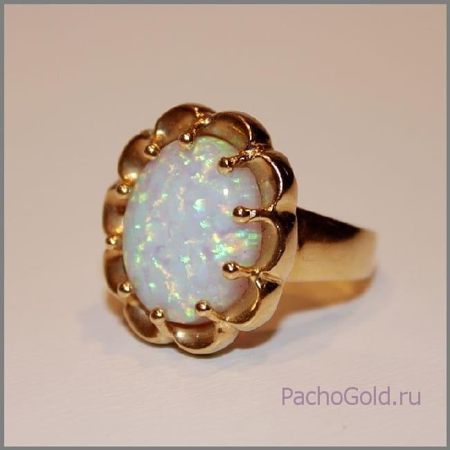 Кольцо из красного золота с опалом Небо для Лулу