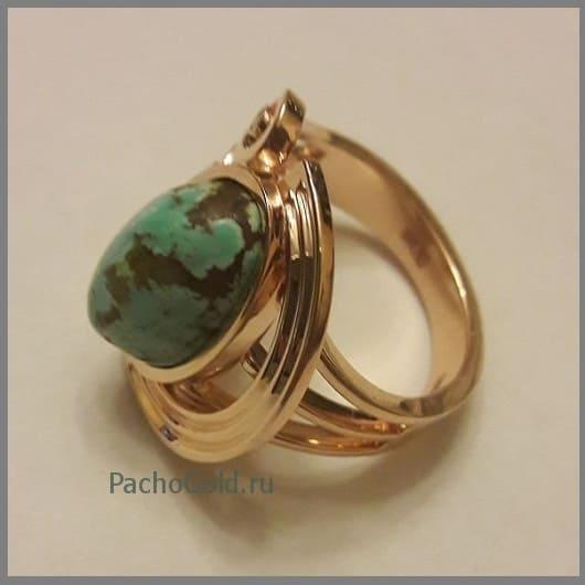 Кольцо с крупной бирюзой Green-stone на заказ