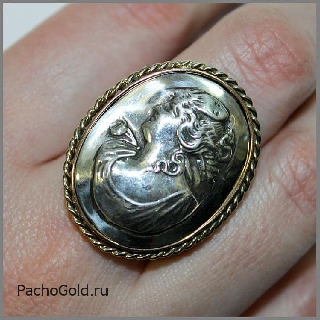 Кольцо камея из золота и серебра на заказ