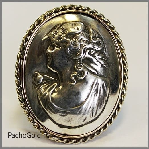 Кольцо камея из золота и серебра ручной работы