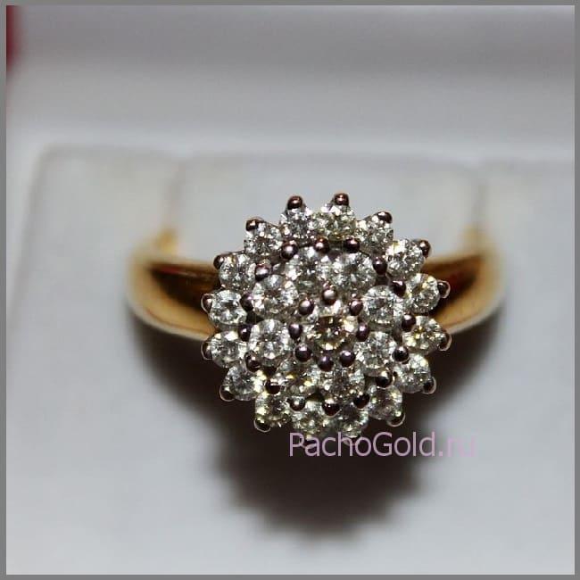Кольцо на заказ Цветок из бриллиантов