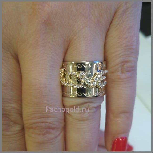 Кольцо на заказ из золота Love