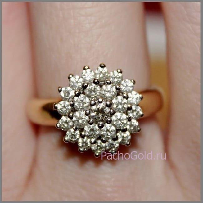 Кольцо роучной работы Цветок из бриллиантов