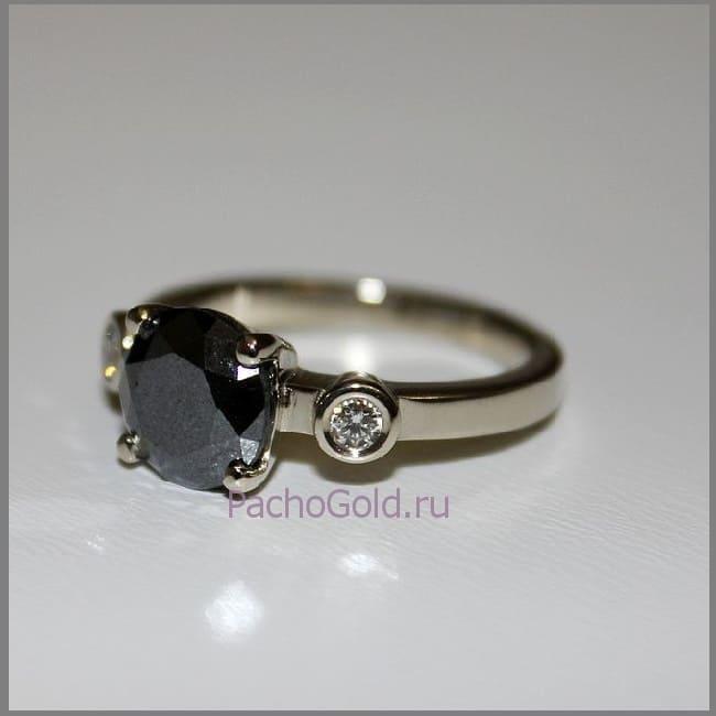 Кольцо с черным и белыми бриллиантами Маятник
