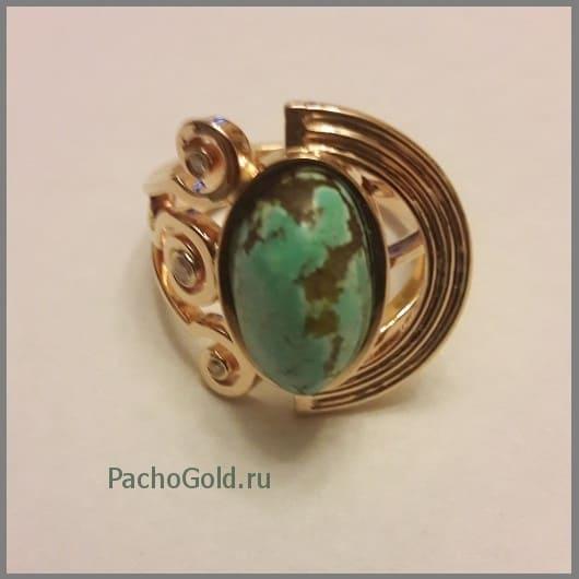 Золотое женское кольцо с крупной бирюзой Green-stone