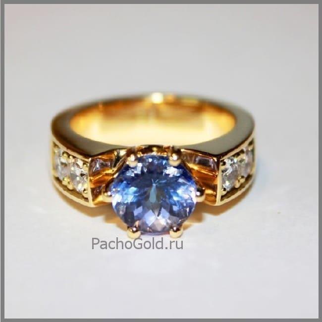Кольцо с танзанитом и бриллиантами на заказ Таисия