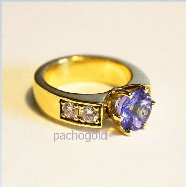 Кольцо с танзанитом и бриллиантами Таиссия
