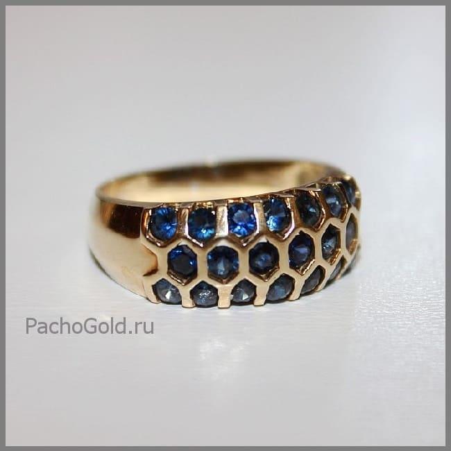 Кольцо из золота Сапфировая дорожка