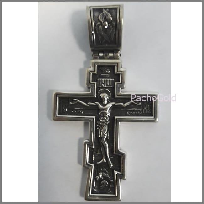 Крест Спаси и сохрани из серебра