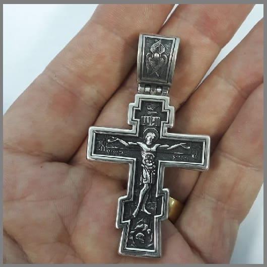 Серебряный крест Спаси и сохрани ручной работы
