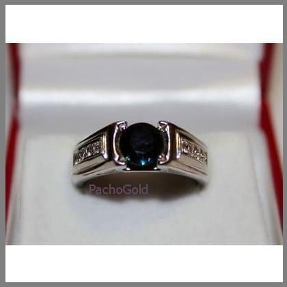 Мужское кольцо ручной работы с круглым сапфиром Blue Abyss