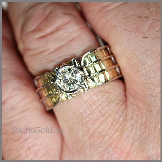 Мужское широкое кольцо Alfa