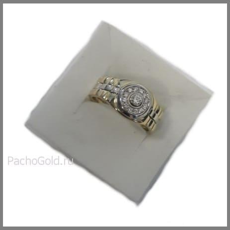 Мужское кольцо из комбинированного золота с бриллиантами Броня