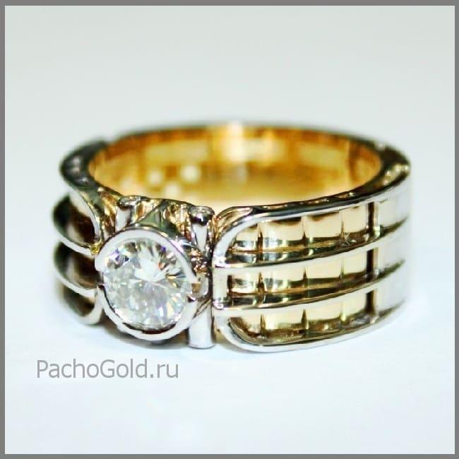 Мужское кольцо с бриллиантом Альфа