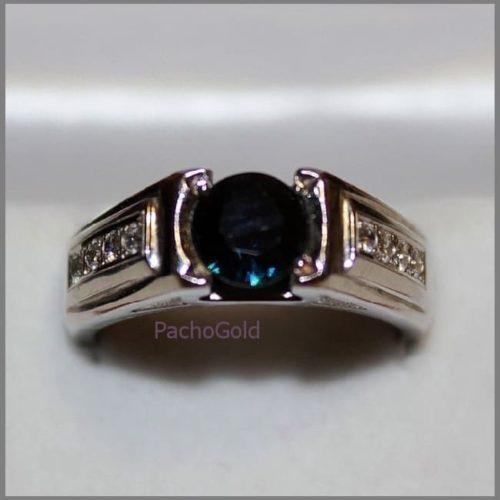 Мужское кольцо с большим круглым сапфиром