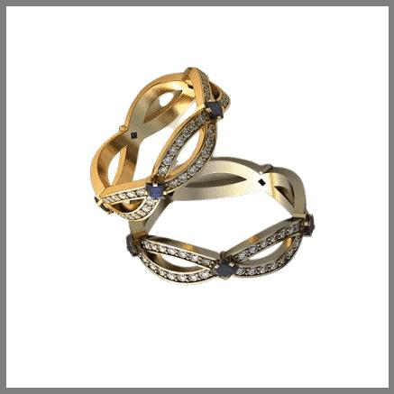 Обручальное золотое кольцо Бесконечность