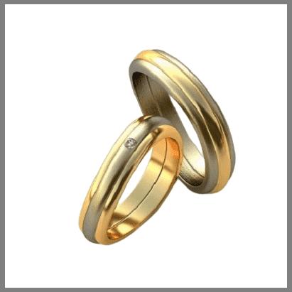 Двухцветные золотые обручальные кольца