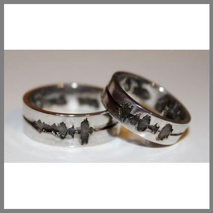 Обручальные кольца Одно дыхание на двоих из белого золота