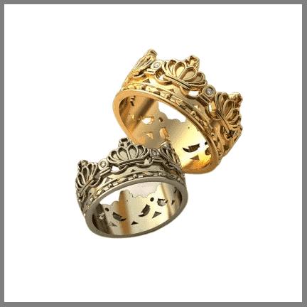 Обручальные кольца Корона на заказ