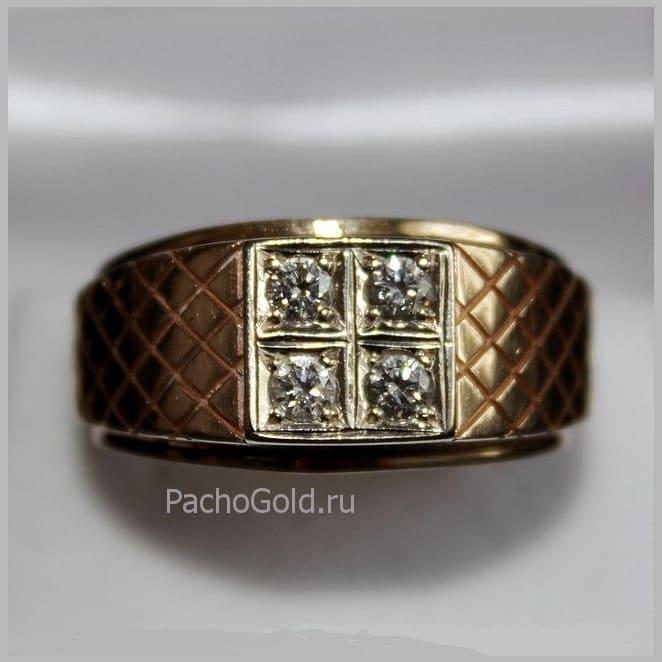 Золотой перстень с камнями Властелин