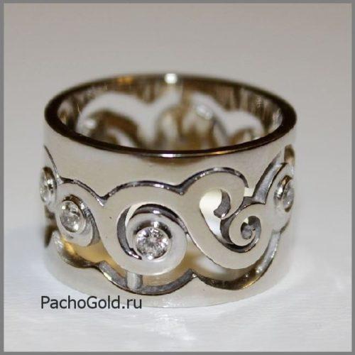 Резное кольцо В море бриллиантов