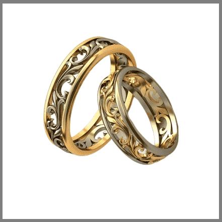 Резное обручальное кольцо из золота или серебра