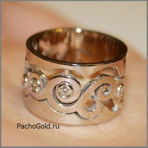Резное женское кольцо В море бриллиантов на заказ