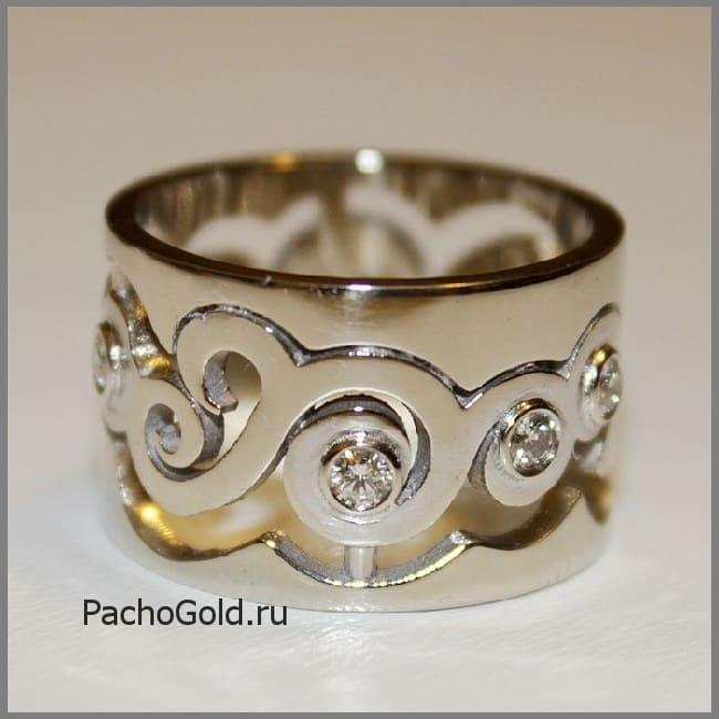 Резное золотое кольцо В море бриллиантов на заказ по вашим размерам