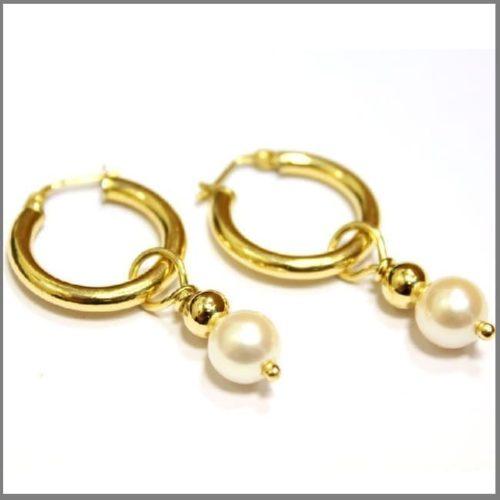 Сережки кольца с жемчугом из золота ручной работы FRAGILE BEAUTY