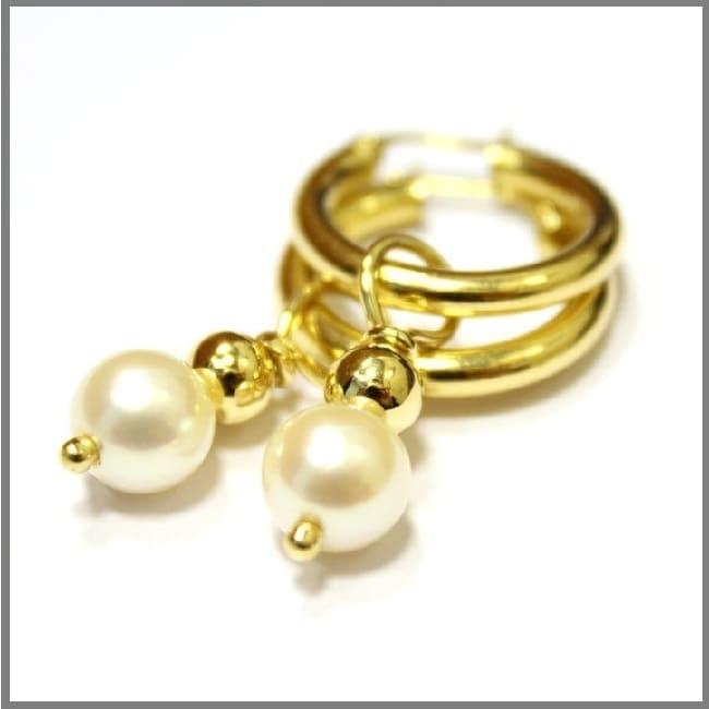 Серьги из желтого золота кольцами со съемными подвесками FRAGILE BEAUTY