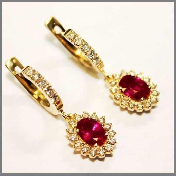 Золотые серьги на заказ Королевские рубины