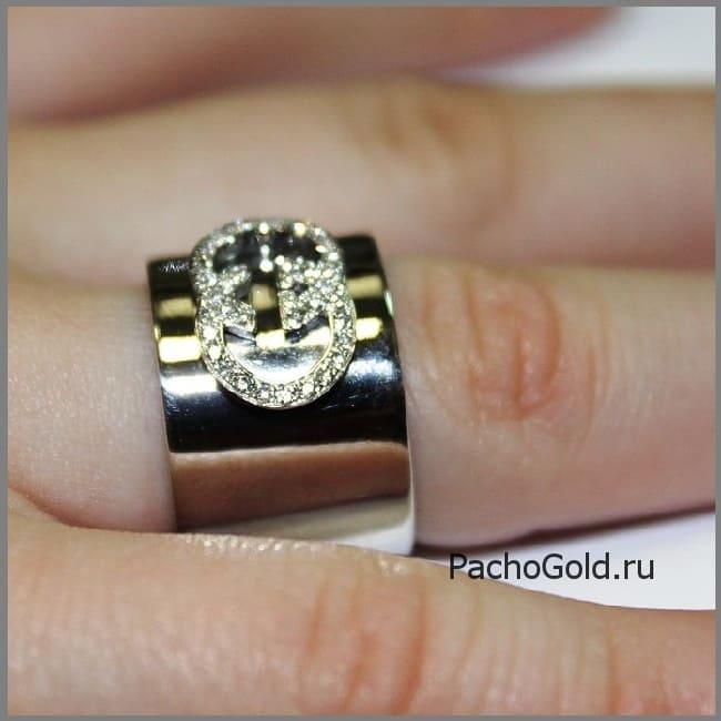 Широкое женское кольцо Я люблю Гуччи на заказ