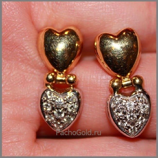 Золотые сережки Эмилия на винтиках под заказ