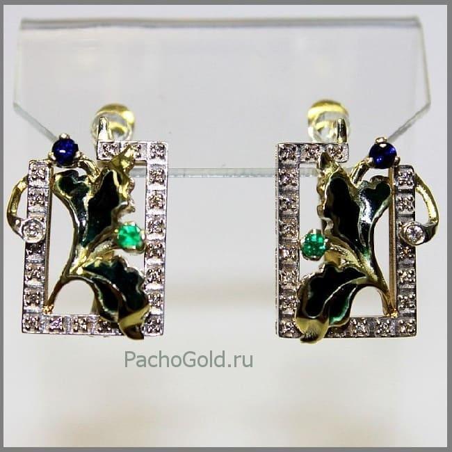 Женские золотые серьги Визит дамы Iks на заказ