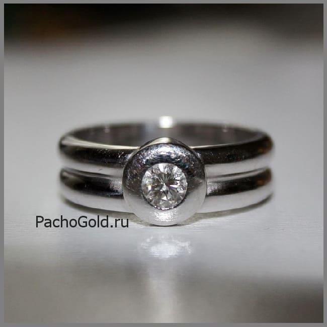 Женское кольцо с одним бриллиантом Лунное затмение