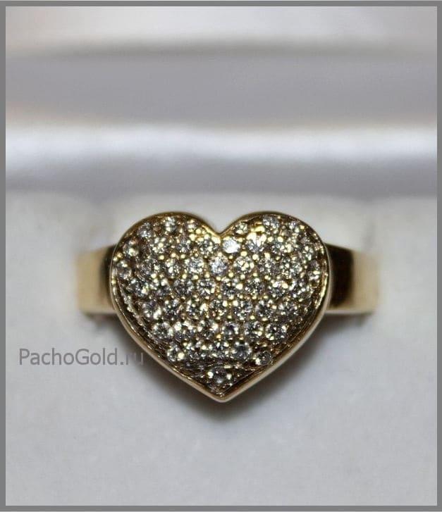 Женское кольцо Сердце из фианитов