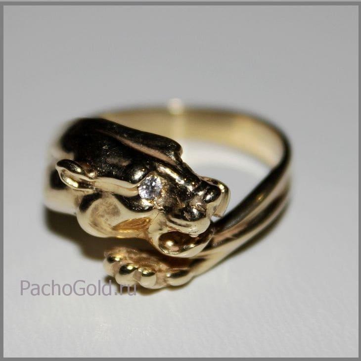 Женское ювелирное кольцо с головой львицы