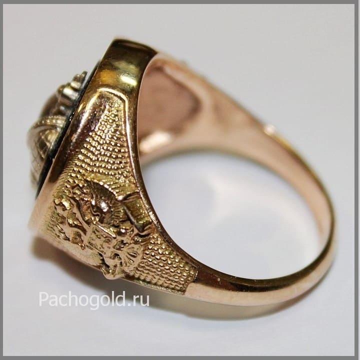 Золотая мужская печатка Корона Российской Империи ручной работы