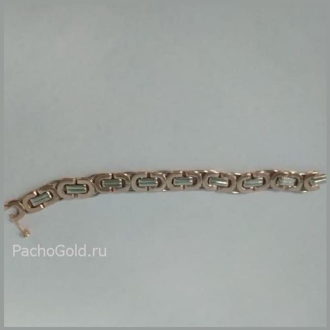 Золотой браслет Steel из белого и желтого золота на заказ