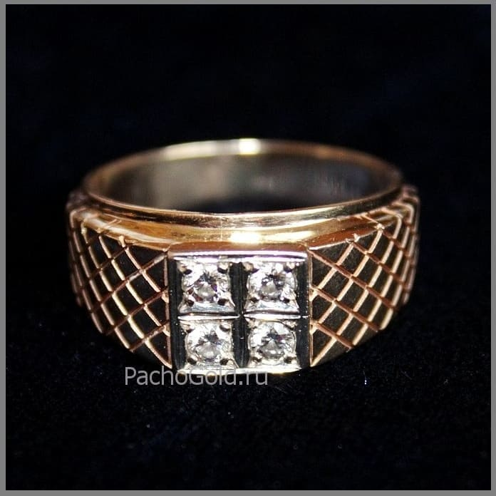 Золотой мужской перстень с бриллиантами Властелин