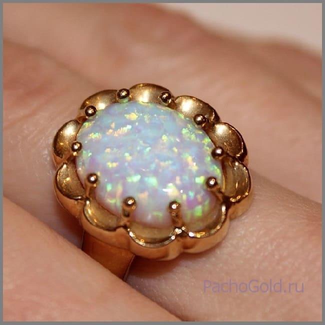 Золотое кольцо 585 ручной работы с опалом Небо для Лулу