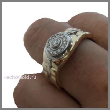 Мужское кольцо из белого и желтого золота Броня