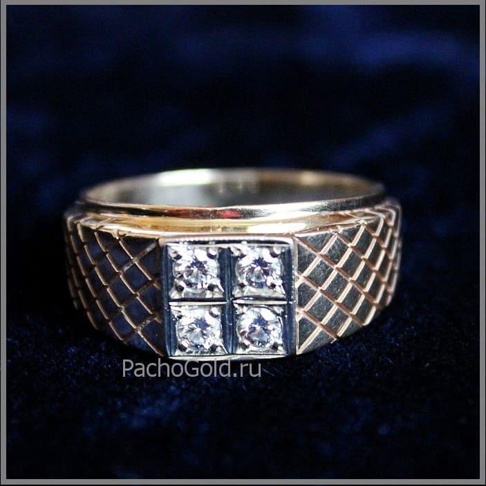 Золотое кольцо с четырьмя бриллиантами Властелин