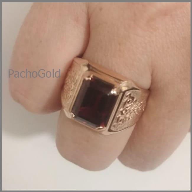 Золотое кольцо с гранатом для мужчины Big Men