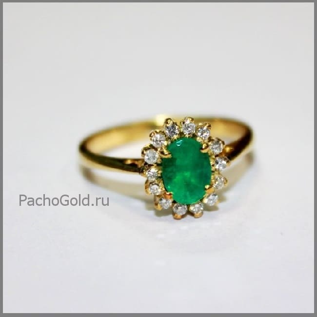 Золотое женское кольцо на заказ с изумрудом и бриллиантами Emerald