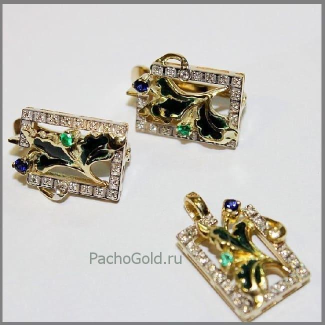 Золотые серьги и кулон Визит дамы Икс ручной работы с эмалью