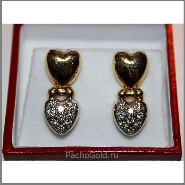 Женские серьги из золота с сердечками Эмилия авторской работы