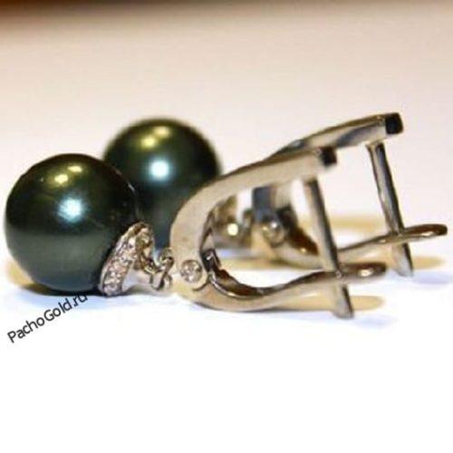 Золотые сережки Matilda с черным жемчугом на заказ