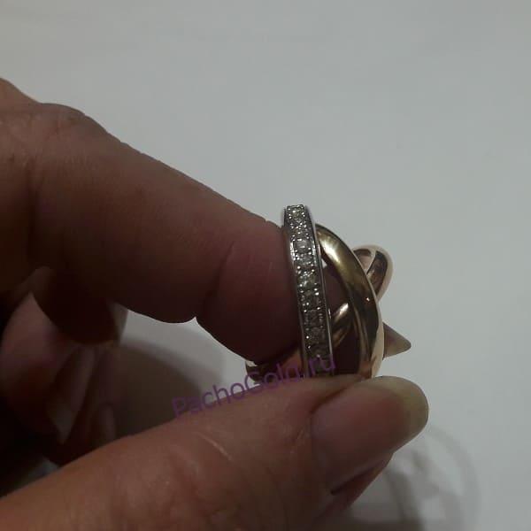 Кольцо Тринити из белого, красного и желтого золота